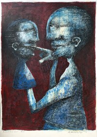 Living room painting by Piotr Kamieniarz titled Self destruction