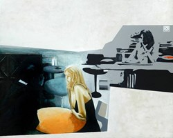 Living room painting by Krzysztof Musiał titled Portal J