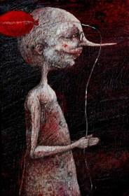 Living room painting by Piotr Kamieniarz titled Pinocchio