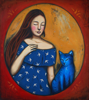Living room painting by Małgorzata Rukszan titled Girl with blue cat