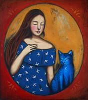 Obraz do salonu artysty Małgorzata Rukszan pod tytułem Dziewczyna z niebieskim kotem