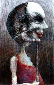 Living room painting by Piotr Kamieniarz titled Mask