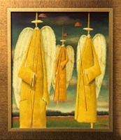 Living room painting by Leszek Sokół titled Angels