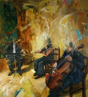 Living room painting by Cyprian Nocoń titled Scherzo