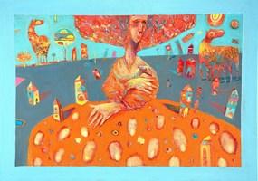 Obraz do salonu artysty Grzegorz Skrzypek pod tytułem Dama z gronostworkiem
