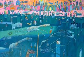 Obraz do salonu artysty Grzegorz Skrzypek pod tytułem Echa mundialu czyli football gravitostworków