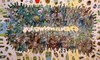 Obraz do salonu artysty Grzegorz Skrzypek pod tytułem Gravitostworki z czerwonym słońcem