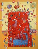 Obraz do salonu artysty Grzegorz Skrzypek pod tytułem Gravitująca jesień i niebieski koniostworek