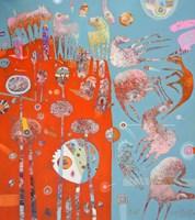 Obraz do salonu artysty Grzegorz Skrzypek pod tytułem Jedenastu wspaniałych i fioletowa gravitowieża