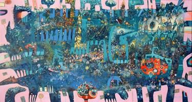 Obraz do salonu artysty Grzegorz Skrzypek pod tytułem Końpozycja otwarta z pomarańczowym drzewkiem