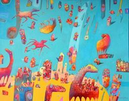 Obraz do salonu artysty Grzegorz Skrzypek pod tytułem Landrynkowe gravitostworki z Terragony