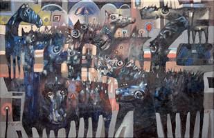 Obraz do salonu artysty Grzegorz Skrzypek pod tytułem Ogonek z czerwoną lampką