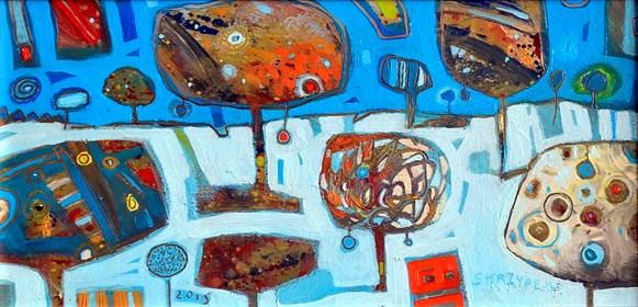 Obraz do salonu artysty Grzegorz Skrzypek pod tytułem Zimowy pejzaż z czerwoną bąbką