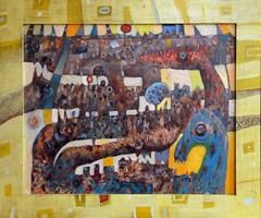 Obraz do salonu artysty Grzegorz Skrzypek pod tytułem Konio-poziomy w żółciach