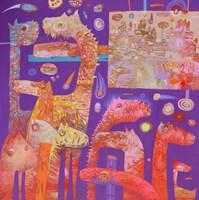 Obraz do salonu artysty Grzegorz Skrzypek pod tytułem Migdałowa kolacja z gravitującym fioletem
