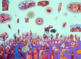 Obraz do salonu artysty Grzegorz Skrzypek pod tytułem Zakochany gravitostworek z magiczną chmurką