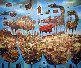 Obraz do salonu artysty Grzegorz Skrzypek pod tytułem Six w wielkim mieście