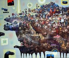 Obraz do salonu artysty Grzegorz Skrzypek pod tytułem Szyszka, fragolino  i huśtawka nastrojów
