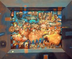 Obraz do salonu artysty Grzegorz Skrzypek pod tytułem Rumiankowo dolne