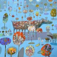 Obraz do salonu artysty Grzegorz Skrzypek pod tytułem Drzewomiasteczkowa kompozycja