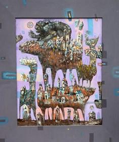 Obraz do salonu artysty Grzegorz Skrzypek pod tytułem Pożeracz kamieniczek