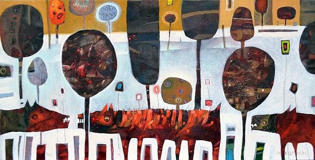 Obraz do salonu artysty Grzegorz Skrzypek pod tytułem Wściekły pomarańczowy