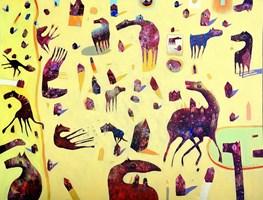 Obraz do salonu artysty Grzegorz Skrzypek pod tytułem Gravitostworki z pistacjową zatoczką