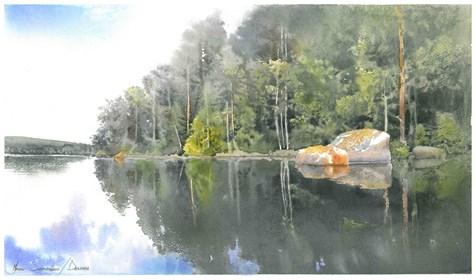 Obraz do salonu artysty Michał Suffczyński pod tytułem Jezioro w Dalarna