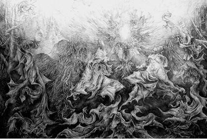 Obraz do salonu artysty Andrzej Masianis pod tytułem Katedra i Archanioły rysunek