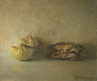 Living room painting by Wiesław Nowakowski titled From the series: Beige Still Life 5