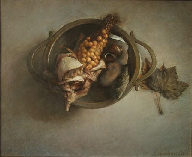 Obraz do salonu artysty Wiesław Nowakowski pod tytułem Z cyklu: Beżowa Martwa natura 7