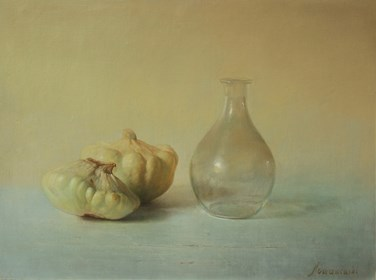 Living room painting by Wiesław Nowakowski titled From the series: Beige Still Life 8