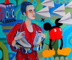 Obraz do salonu artysty Marcin Painta pod tytułem  Ona i papierowe samoloty