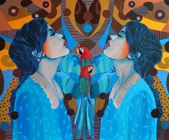 Obraz do salonu artysty Marcin Painta pod tytułem One dwie i dwie papugi