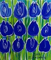 Obraz do salonu artysty Edward Dwurnik pod tytułem Kobaltowe tulipany 1