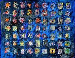 Obraz do salonu artysty Krzysztof Pająk pod tytułem Znaki na niebieskim tle