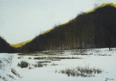 Obraz do salonu artysty Konrad Hamada pod tytułem Zamarznięte jezioro