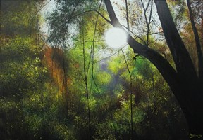 Living room painting by Konrad Hamada titled Forest sunset