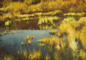 Living room painting by Konrad Hamada titled October wetlands