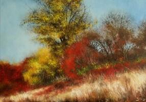 Living room painting by Konrad Hamada titled Autumn 1