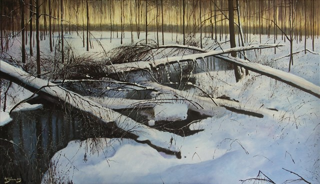 Living room painting by Konrad Hamada titled Winter forest