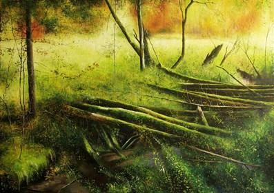 Obraz do salonu artysty Konrad Hamada pod tytułem Jesień nad potokiem