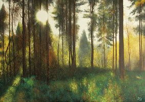 Living room painting by Konrad Hamada titled Forest