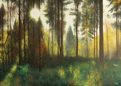 Obraz do salonu artysty Konrad Hamada pod tytułem Las pod słońce