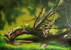 Living room painting by Konrad Hamada titled Willow tree