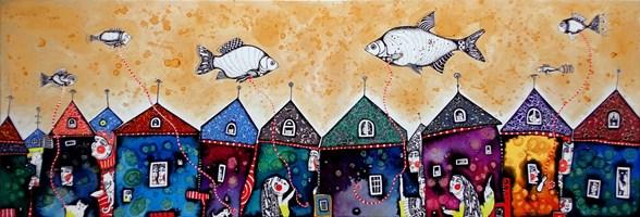 Obraz do salonu artysty Natalia Pastuszenko pod tytułem Rybne Miasteczko