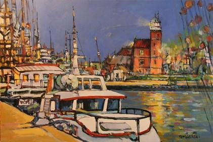 Obraz do salonu artysty Piotr Rembieliński pod tytułem Port rybacki nad Bałtykiem