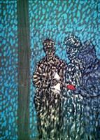 Living room painting by Adam Bojara titled 2j traverse