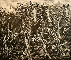 Living room painting by Adam Bojara titled K3 Horses