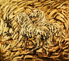 Living room painting by Adam Bojara titled K5 Horses